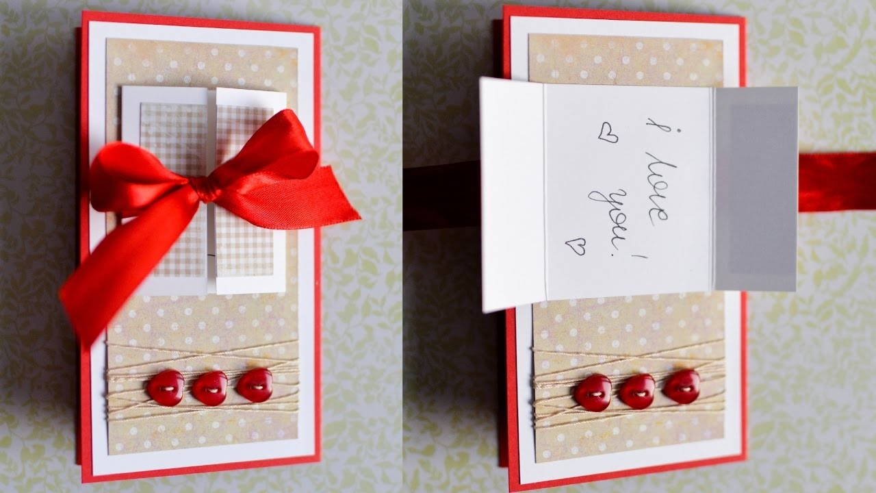 How to Make - Greeting Card Surprise Valentine's Day - Step by Step DIY   Kartka Walentynki