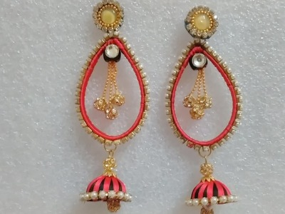 Making silk thread long bollywood earring using plastic