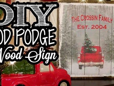 Mod Podge Wood Sign - Dollar Tree Gift Bag