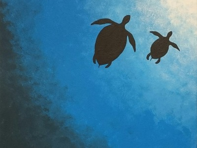 Turtle painting- Painting of ocean -- EASY PAINTING FOR BEGINNERS