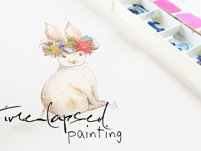 Watercolor Timelapse Painting of a Bunny Bride
