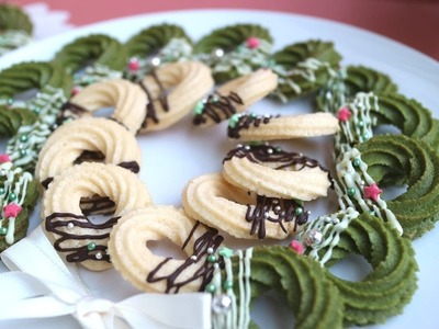 Christmas wreath  cookies  クリスマスリース風 絞り出しクッキー