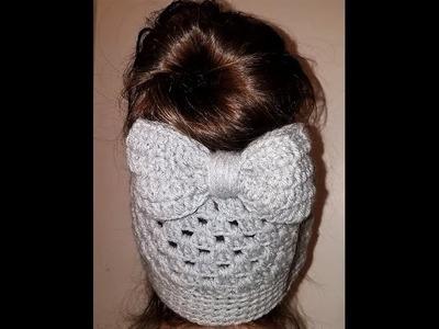 Crochet BOW for messy bun beanie