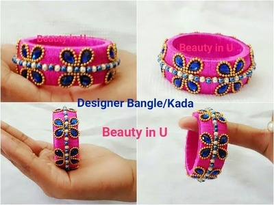 Designer Silk Thread Bangle. Kada using Gold bead chain & Kundans | Baby Bangle