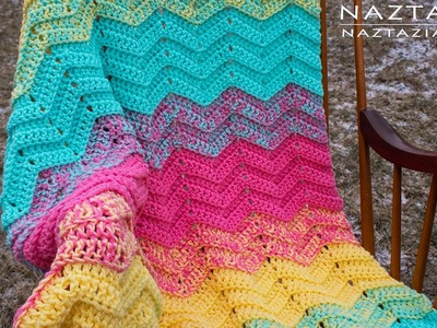 DIY Tutorial - How to Crochet Double Sweet Ripple Blanket - Chevron Zig Zag Afghan Throw