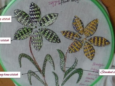 Embroidery work designs - zig zag design