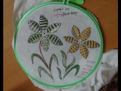 Hand Embroidery Designs # 162 - Zigzag flower Design