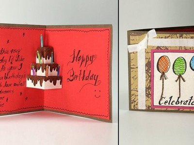 Handmade Birthday Greeting Card - Cake Pop Up Birthday Card Step By Step Tutorial