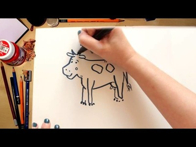 How to draw a Cow - drawing animals with kids