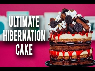How To Make My ULTIMATE HIBERNATION CAKE! Piled High With Cheesecake, Cherries, Brownies & Ganache!