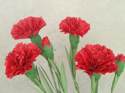 How To Make Red Carnation Paper Flower From Crepe Paper - Craft Tutorial  #2