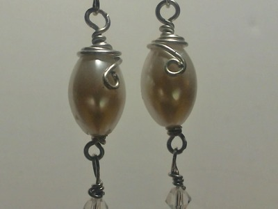 How to make wire wrap pearl earrings. Very Nice!