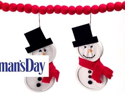 Mason Jar Lid Snowman Ornaments | Woman's Day