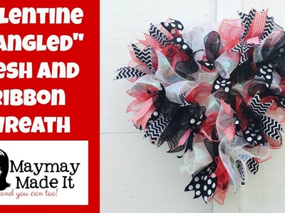 Mesh and Ribbon Wreath Tutorial for Valentines