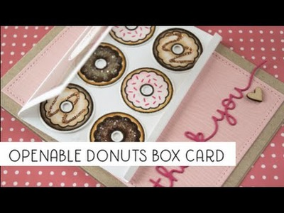 Openable donut box card with watercolor markers