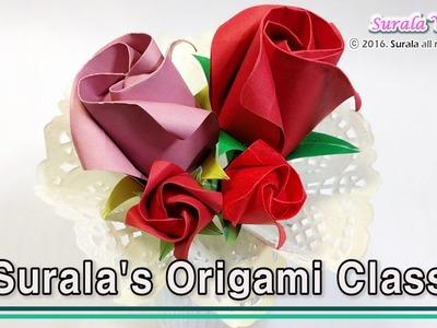 Origami - Rose (flower, Petals & a calyx)