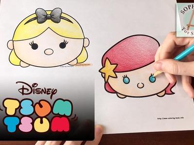 Princess Ariel & Alice Disney Tsum Tsum Coloring Page - Cute Stackable Toys!