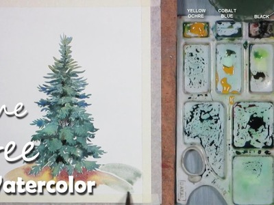 Watercolor Painting | Painting Pine. Mountain. Christmas Tree step by step