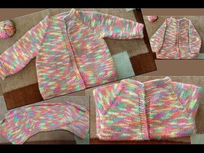 Baby Cardigan Starts from Neck Part I ( गले से शुरू होने वाला तरीके का स्वेटर)