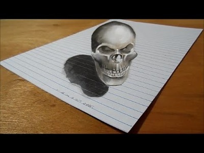Bad Skull, Trick Art on Lined Paper