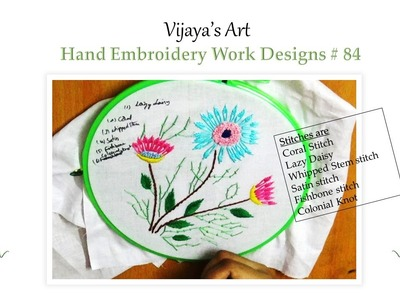 Beautiful Hand Embroidery Work Designs # 84 - Lazy daisy Design