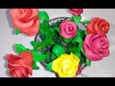 Clay tutorial : How to make  rose flowers with clay | easiest method  [creative ideas]