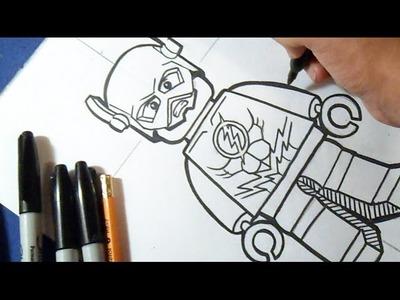 "Cómo dibujar a Flash de ""LEGO""   How to draw The Flash"