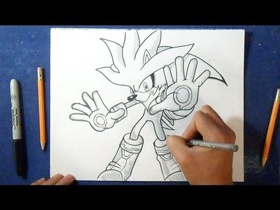 "Cómo dibujar a Silver the hedgehog ""Sonic"" 