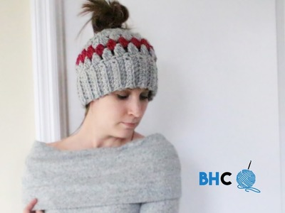 Crochet Messy Bun Hat Left Hand Tutorial