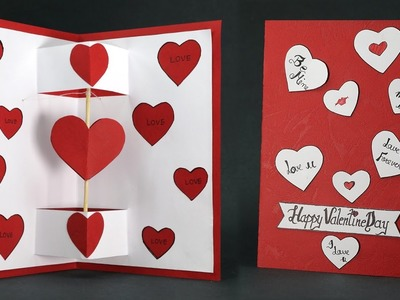 DIY Valentine Card - Twirling Heart Pop Up Card Step By Step