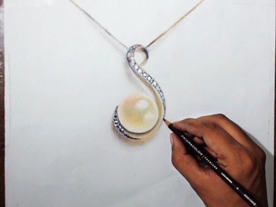 Drawing a pearl locket - Prismacolor pencils