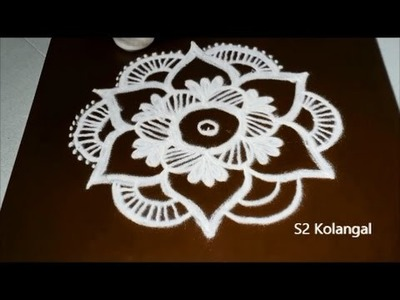 Easy flower rangoli designs with 5 to 3 Interlaced dots - simple kolam designs- dots muggulu