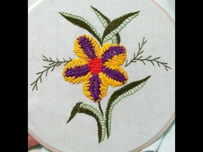 Easy hand embroidery flower and leaf