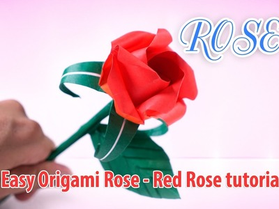 Easy Origami Rose - Red Rose tutorial EP 3 ♡ Origami THs.