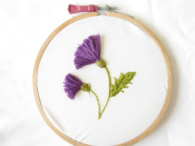 Hand Embriodery Thistle Flowers Tassel Flowers Wall Decoration