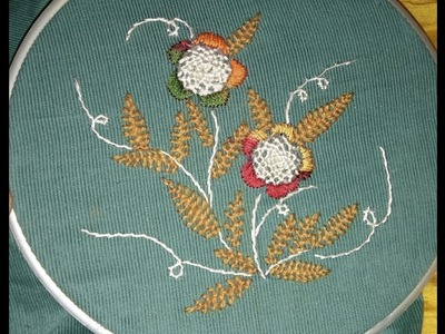 Hand embroidery- beautiful and easy helical flower and Cretan leaves
