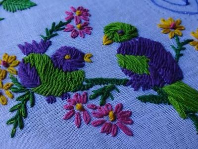 Hand Embroidery Bird Stitch: Romanian & Lazy daisy Stitch by Amma Arts.
