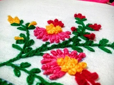 Hand Embroidery - Bullion and Lazy Daisy Stitch || Floral Embroidery Design