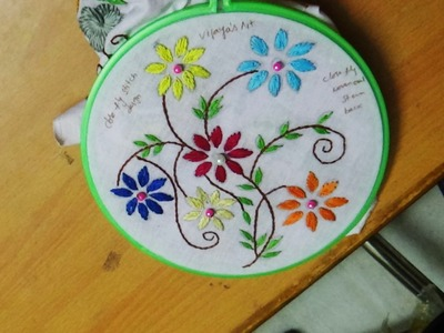 Hand Embroidery Designs # 133 - Closed fly stitch flower design