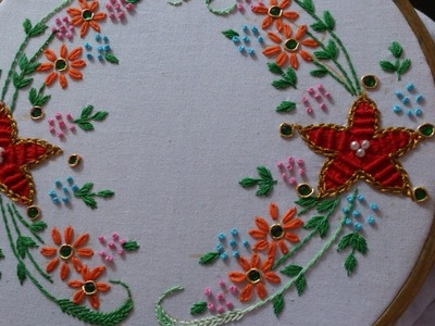 Hand embroidery designs. spider web stitch, closed fly stitch,lazy daisy, satin sttich.