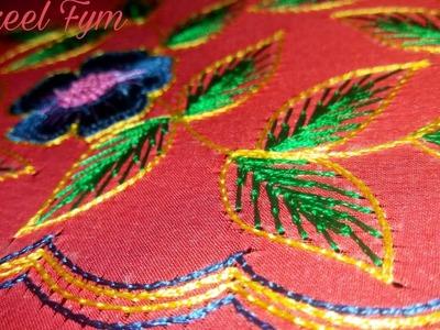 Hand embroidery leaf stitch | Shakeel Fym