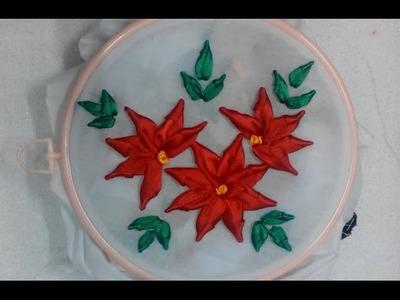 Hand Embroidery - Ribbon Bullion Lazy Flower Stitch