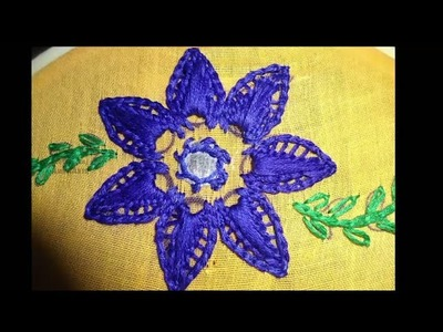 Hand Embroidery  Twisted Chian Stitch Flower Design by AmmaArts