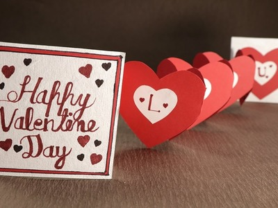 Handmade Valentine Card  Accordion Heart Love Card for Valentine's Day