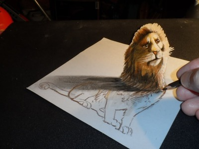 How to Draw a 3D Lion, Trick Art,