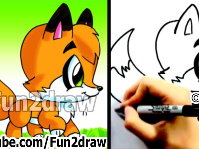 How to Draw a Cartoon Fox - Cute Animals Drawings - Fun2draw Art Lessons Channel