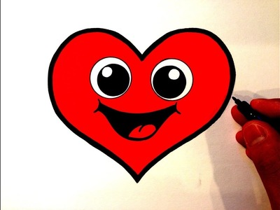 How to Draw a Cute Heart Smiley Face