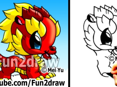 How to Draw a Dragon - Chinese Dragon - Cute Drawings - Art Lessons - Fun2draw