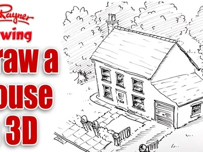 How to draw a House in 3d - bird's eye view