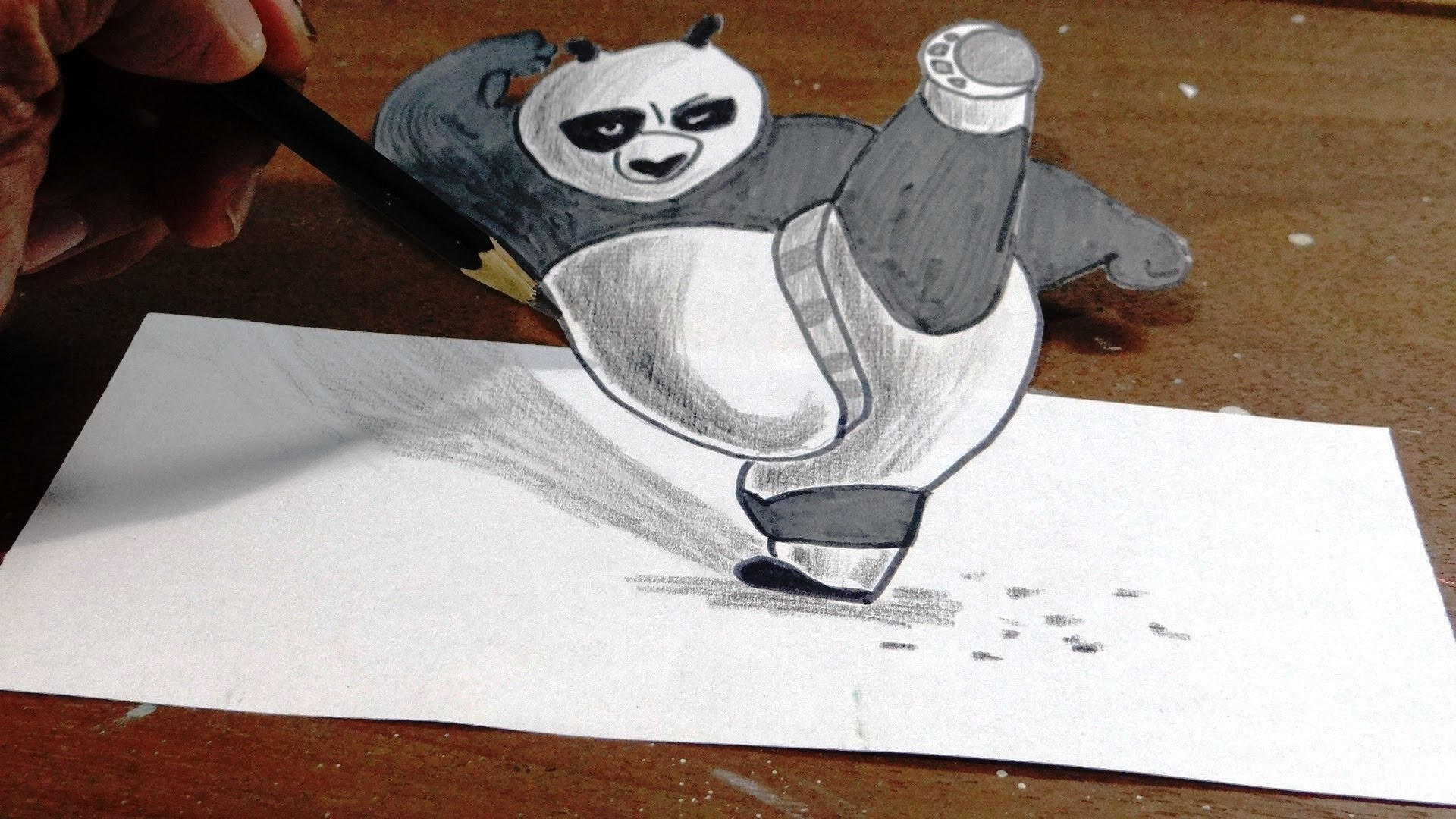 How to draw kung fu panda in 3d step by step with narration